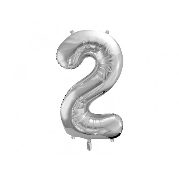 "Metallic foil balloon Number ""2"",  silver, 86 cm."