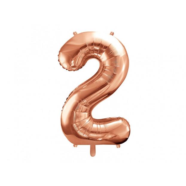 "Metallic foil balloon Number ""2"", rose gold, 86 cm."