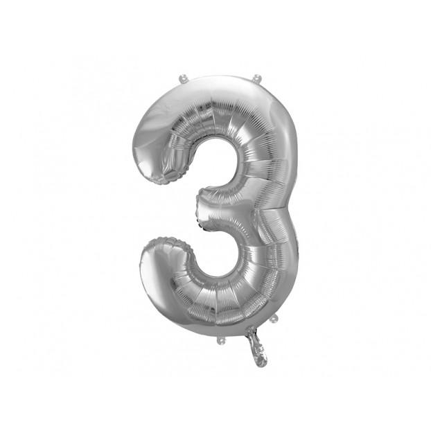 "Metallic foil balloon Number ""3"",  silver, 86 cm."