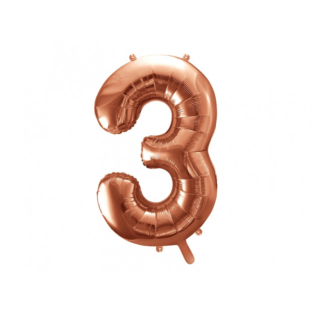 "Metallic foil balloon Number ""3"", rose gold, 86 cm."