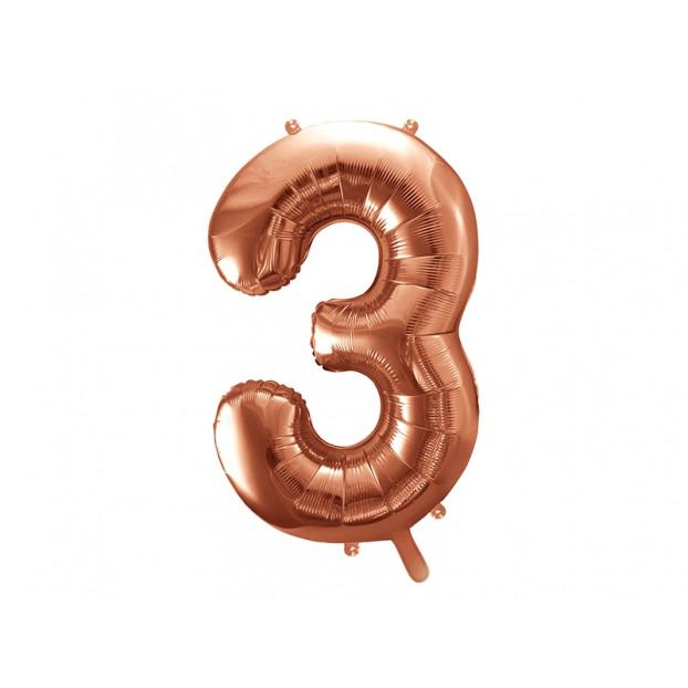 "Metallic foil balloon Number ""3"", rose gold, 86 cm."