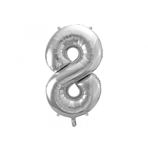 "Metallic foil balloon Number ""8"",  silver, 86 cm."
