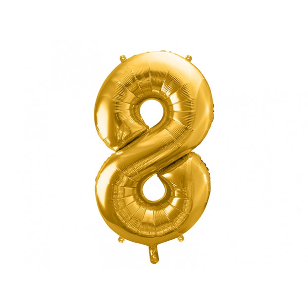 "Metallic foil balloon Number ""8"", gold, 86 cm."