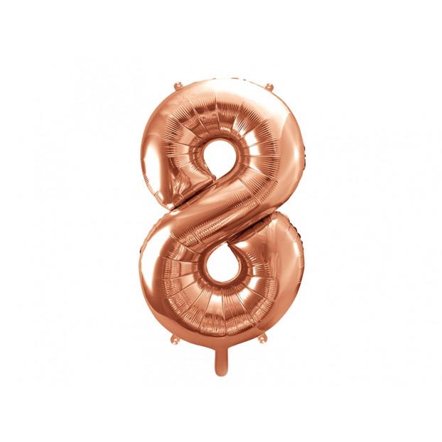 "Metallic foil balloon Number ""8"", rose gold, 86 cm."