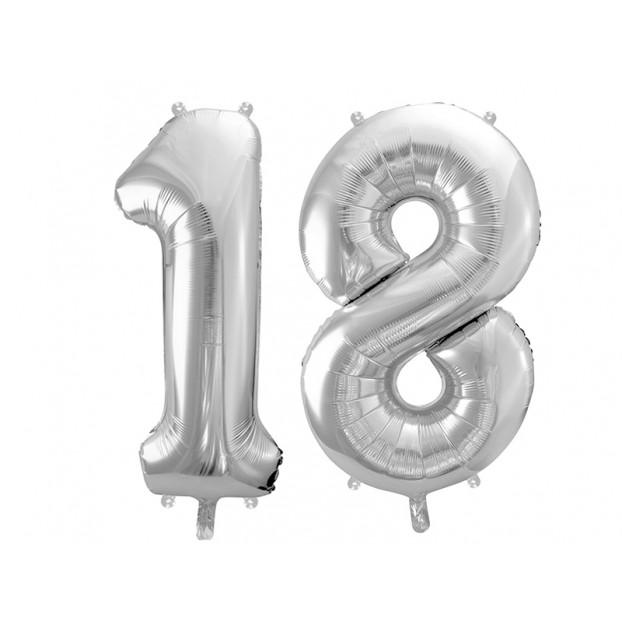 "Metallic foil balloon Number ""18"", silver, 86 cm."