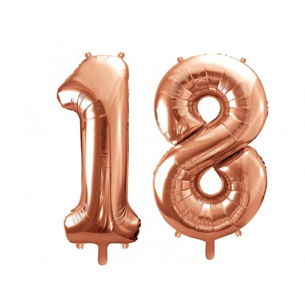 "Metallic foil balloon Number ""18"", rose gold, 86 cm."