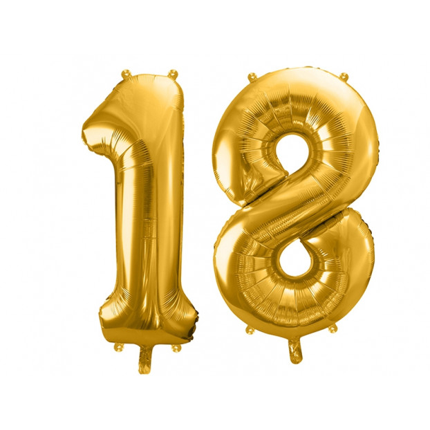 "Metallic foil balloon Number ""18"", gold, 86 cm."