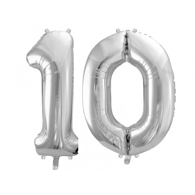 "Metallic foil balloon Number ""10"", silver, 86 cm."