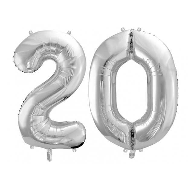 "Metallic foil balloon Number ""20"", silver, 86 cm."
