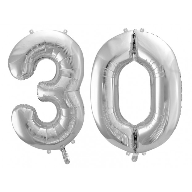 "Metallic foil balloon Number ""30"", silver, 86 cm."
