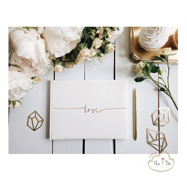 GUEST BOOK LOVE - WHITE AND GOLD