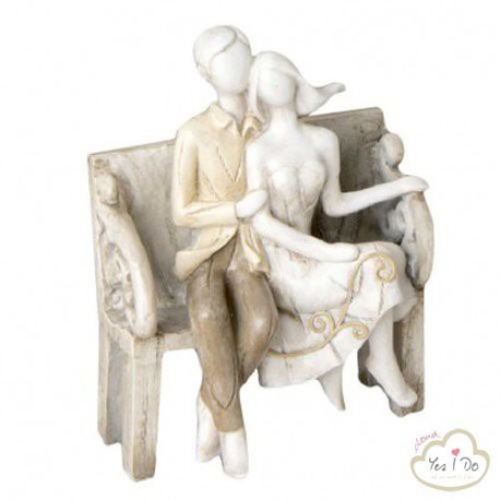 NEWLYWEDS ON THE BENCH CAKE TOPPER