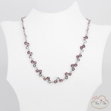 CRYSTAL-ROSE RHINESTONE NECKLACE