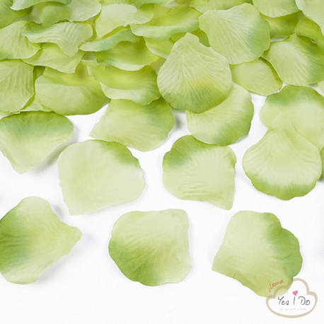 100 ARTIFICIAL LIGHT GREEN ROSE PETALS