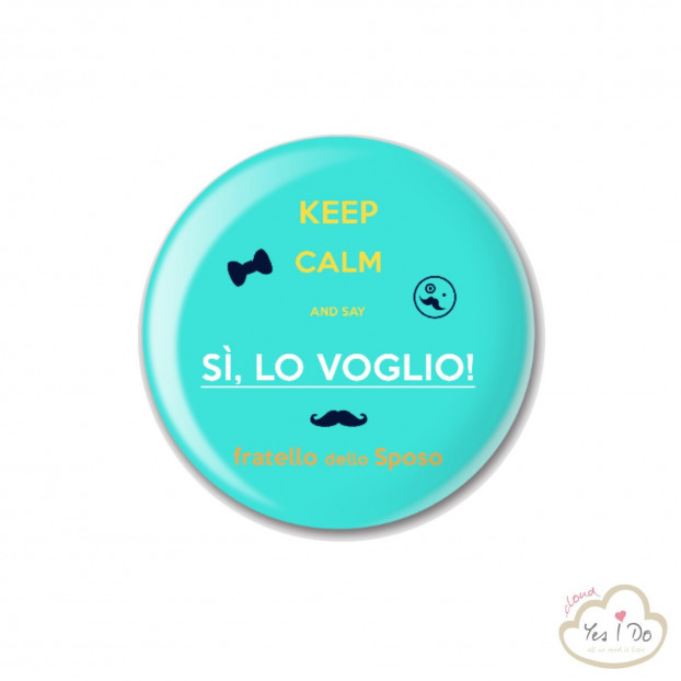 "LIGHT BLUE PIN ""FRATELLO DELLO SPOSO"""