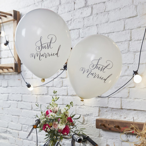 "10 ""JUST MARRIED"" BALLOONS 30 CM."