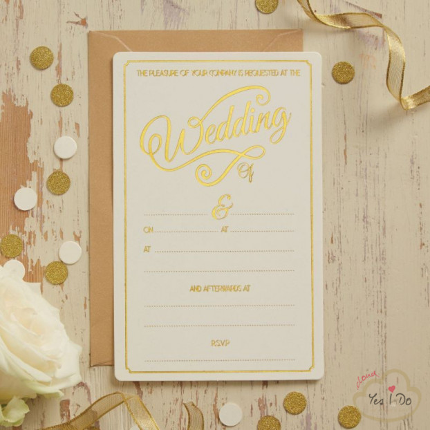 10 IVORY & GOLD FOILED WEDDING INVITATIONS