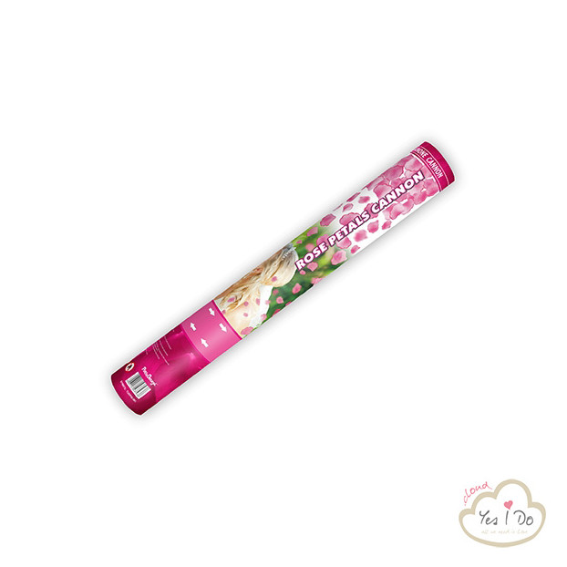 CONFETTI CANNON WITH ROSE PETALS, PINK 40 CM.