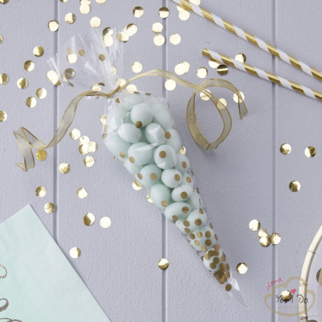 10 CLEAR GOLD CONE PARTY BAGS