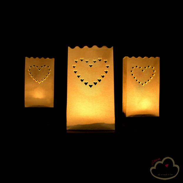10 CANDLE BAGS HEART