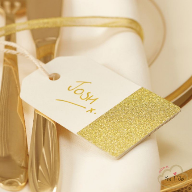 10 IVORY & GOLD GLITTER LUGGAGE TAGS