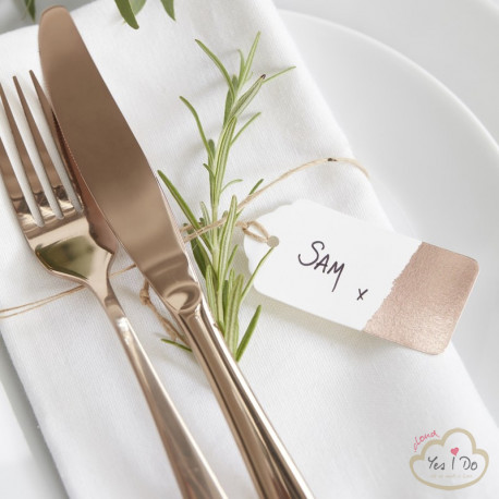 10 ROSE GOLD LUGGAGE PLACE CARD TAGS