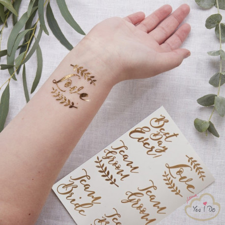 12 ROSE GOLD TEMPORARY WEDDING TATTOOS