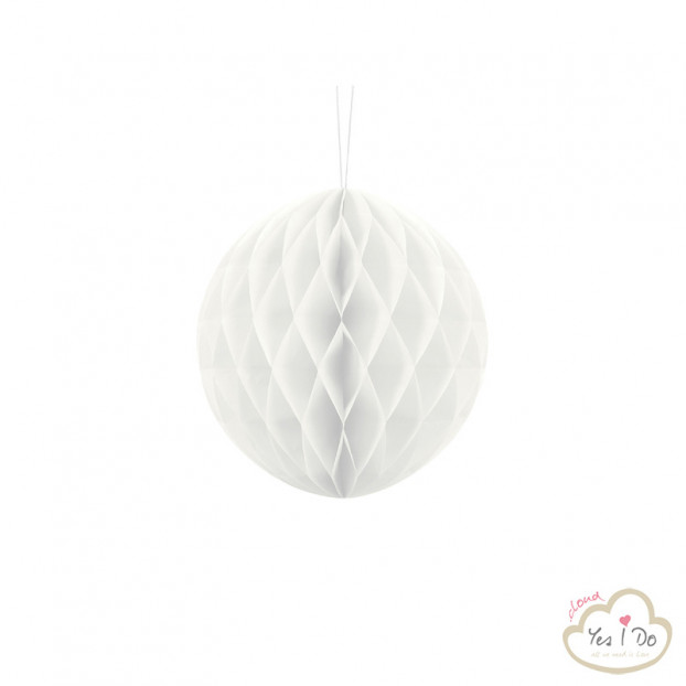 1 WHITE HONEYCOMB BALL 20 CM