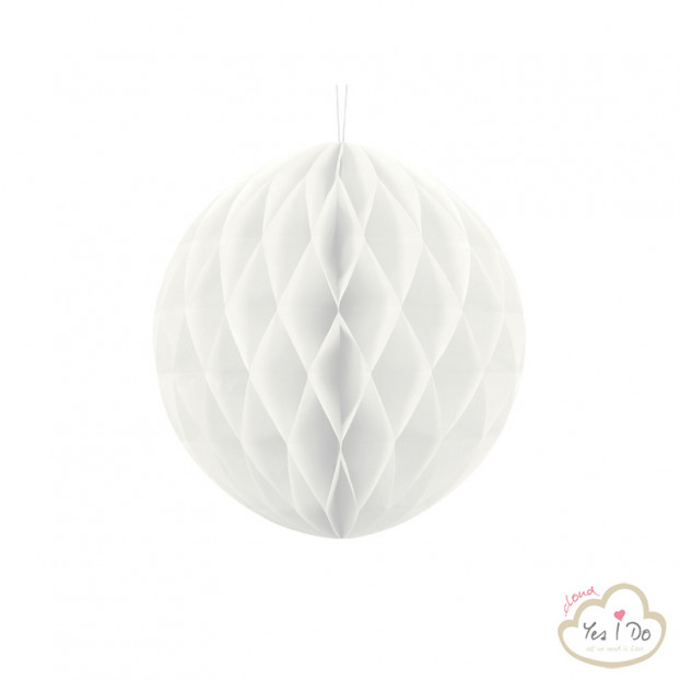 1 WHITE HONEYCOMB BALL 30 CM