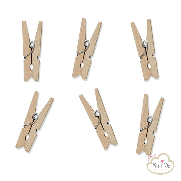 20 NATURAL WOODEN PEGS
