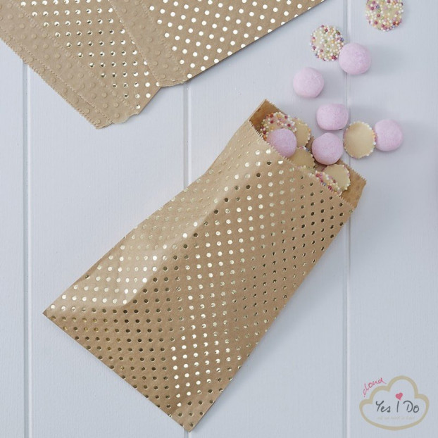 20 GOLD FOILED POLKA DOT KRAFT TREAT BAGS