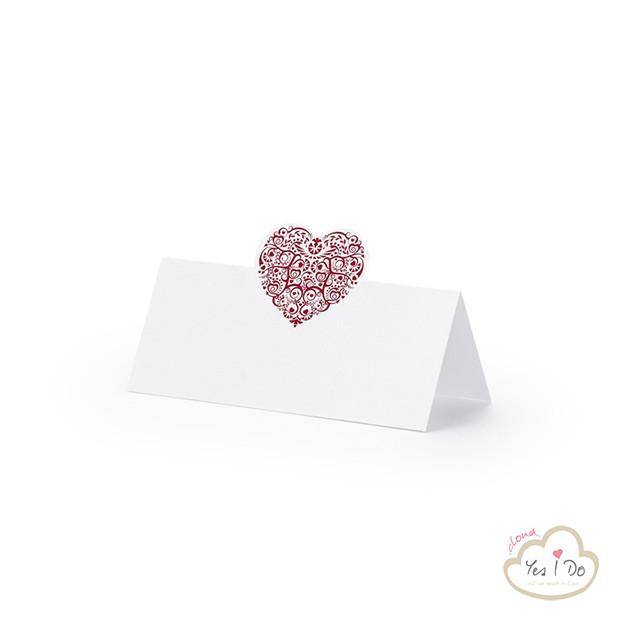 PLACE CARDS WITH RED HEART 25 PCS.