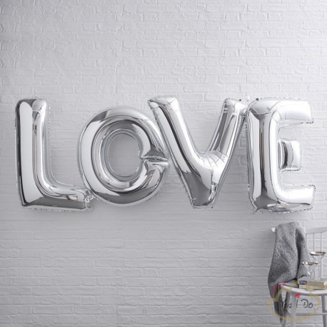 GIANT LOVE FOILED BALLOONS - SILVER