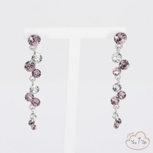CRYSTAL-ROSE PENDANT EARRINGS
