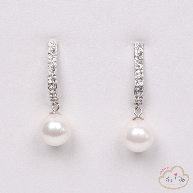 EARRINGS WITH RHINESTONES AND PEARL