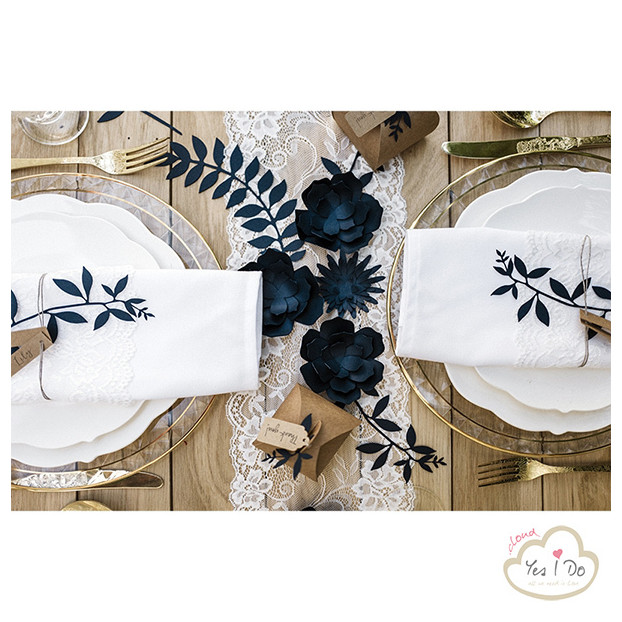 3 NAVY PAPER DECORATIONS FLOWERS