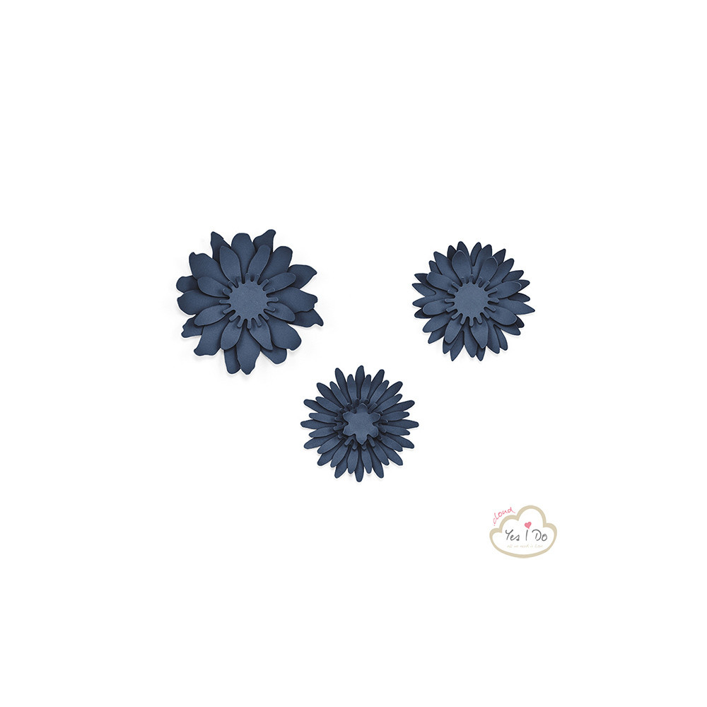 3 NAVY PAPER DECORATIONS FLOWERS - Yesido cloud