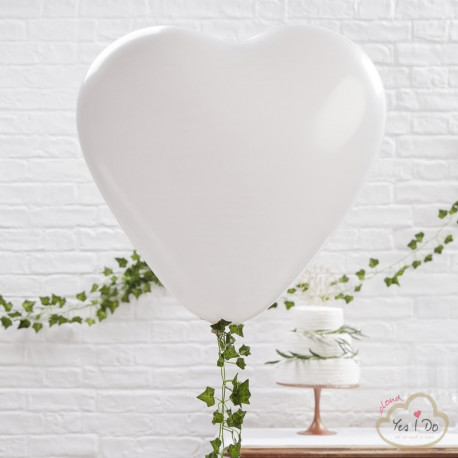 3 LARGE WHITE HEART BALLOONS