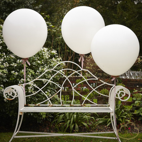 3 WHITE 36 INCH FEATURE BALLOONS